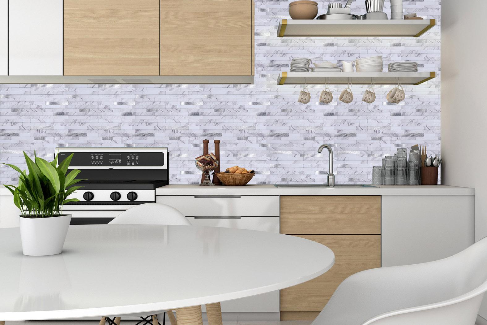 Mosaikfliese weißer Marmor