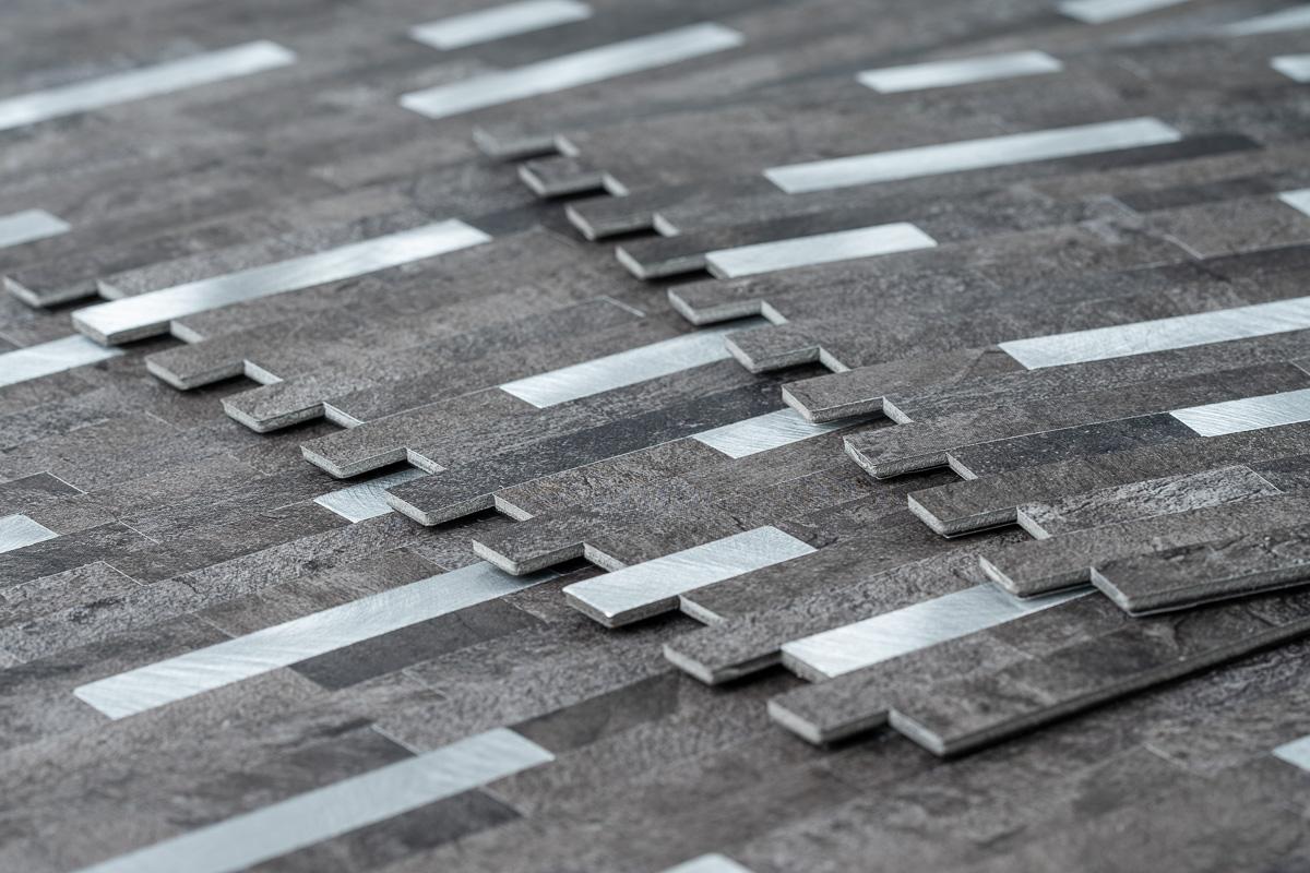 Mosaikfliese Schwarz-Grauer Stein